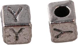 01177 Vierkante letterkraal Y Antiek zilver