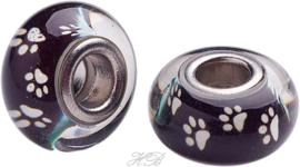01830 Pandora-stijl kraal glas hondenpoot Zwart/metaalkleurig 14x8mm; gat 5mm 1 stuks