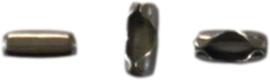 02348 Metaal klemmetje voor ball-chain  Gunmetal 5mmx2,5mmx2mm; voor 1,5mm ball chain ±250 stuks