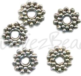 04190 Spacer daisy Antiek zilver (Nikkelvrij) 9mmx2mm; gat 2mm 15 stuks