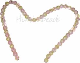 00644 Glaskraal crackle 2-kleurig streng (±40cm) Roze / geel 8mm; gat 1,5mm 1 streng
