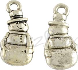 02403 Bedel sneeuwpop Antiek zilver (Nikkelvrij) 23mmx10,5mmx3mm; gat 2mm