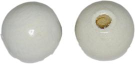 00602 Houten kraal gelakt Wit 12mm ±40 stuks