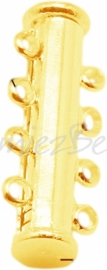 01661 Magneetschuifslot 4-rings Goudkleurig (Nikkelvrij) 25mmx10mm 1 stuks
