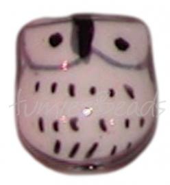 02673 Porselein kraal uil Zwart 17mmx15mmx13mm; gat 3mm