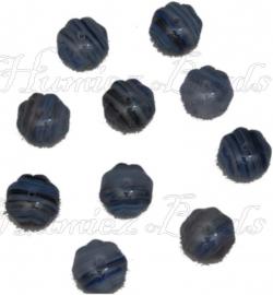 02433 Tsjechische glaskraal Blauw-wit 8mmx11mm 10 stuks