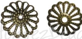 02349 Kralenkap filigraan Antiek brons 13mmx2mm; gat 2mm ±20 stuks