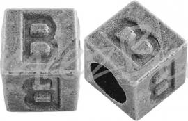01154 Vierkante letterkraal B Antiek zilver