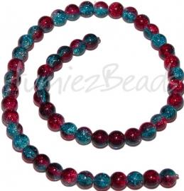 03244 Glaskraal crackle streng ±40cm Blauw-rood 8mm 1 streng