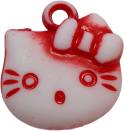 01961 Bedel Hello Kitty acryl Rood/wit 20mmx18mm 6 stuks