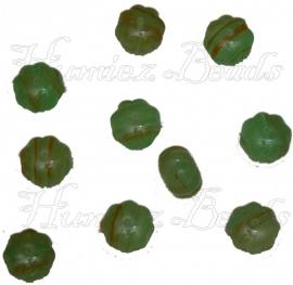02360 Tsjechische glaskraal Groen-oranje 8mmx11mm 10 stuks