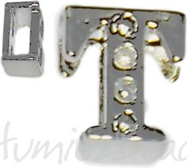04255 Schuifkraal Letter T Metaalkleurig (Nikkelvrij) 9mmx8mm; gat 6,5mmx3,5mm 1 stuks