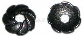 02498 Kralenkap wiel Zwart (Nickel vrij) 9mmx2mm 11 stuks