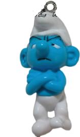 01528 3d Bedel smurf met telefoonhanger Blauw/wit 40mmx21mmx16mm 1 stuks