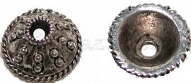 00159 Kralenkap Pukkel Antiek zilver (Nikkel vrij) 7mmx13mm 7 stuks