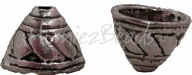02154 Kralenkap Hoed Antiek zilver (Nickel vrij) 10mmx14mm 6 stuks