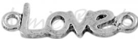 00606 Tussenstuk Love Antiek zilver (Nikkel vrij) 24mmx7mm; gat 1,5mm 6 stuks