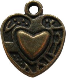 00877 Bedel hart in hart bedrukt Antiek brons