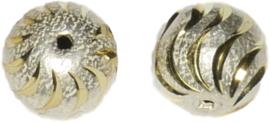 01240 Stardust kraal  Zilver- goudkleurig (Nikkelvrij) 14mmx15mm; gat 1,5mm 2 stuks