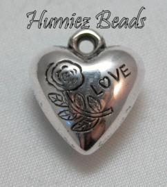 02292 Bedel metallook hart love bloem Antiek zilver 16mmx14mm+4mm 11 stuks