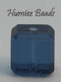 02721 Glaskraal vierkant facet geslepen Blauw 6mm 12 stuks