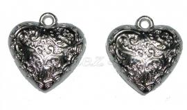 01253 Metallook Bedel hart bedrukt Antiek zilver 20mmx18mmx6mm 11 stuks