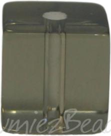 00596 Glaskraal vierkant Grijs 8mm 1 streng (±30cm)