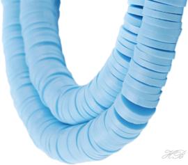 04574 Klei kralen streng ±20cm Katsumi /Heishi Licht blauw 6x1mm; gat 2mm 1 streng