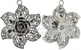 00823 Hanger bloem bling Antiek zilver / Chrystal 72mmx59mmx9mm 1 stuks