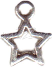00204 Bedel ster open Antiek zilver (Nikkel vrij) 14mmx10mm 11 stuks