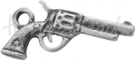 01385  Bedel revolver  Antiek zilver (Nikkel vrij)  24mmx11mmx3mm