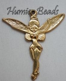 02957 Bedel Tinkerbell staand Antiek goud (Nickel vrij) 51mmx46mm 1 stuks