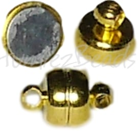 02164 Magneetslot rondel Goudkleurig (Nikkelvrij) 11mmx7mm