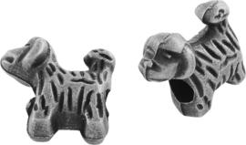 04427 Metalen kraal Hond Antiek zilver (Nikkelvrij) 13mmx13mmx6mm; gat 4mm 3 stuks