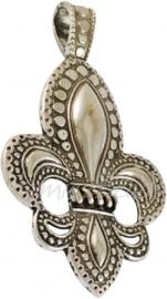 00238 Hanger franse lelie Antiek zilver (Nikkel vrij) 73mmx45mm 1 stuks