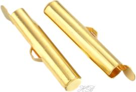 00154 Eindklem  Goudkleurig 19,5x4mm; binnenzijde 2mm; gat 1mm 4 stuks
