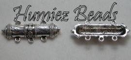 03053 Verdeler 2-3 staaf Antiek zilver 37mmx15mm 3 stuks