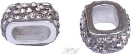 03570 Metalen kraal Ovaal bling Metaalkleurig/ Black daimond 17x14x7mm; gat 10x7mm 1 stuks