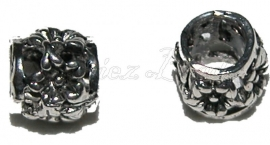 01237 metalenkraal bloemetjes Antiek zilver (Nikkelvrij) 7 stuks
