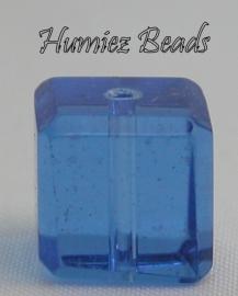 02755 Glaskraal vierkant facet geslepen Blauw 10mm 1 streng (±30cm)
