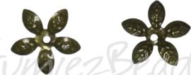 02245 Kralenkap filigraan Antiek brons (Nikkelvrij) 15mmx2mm; gat 2mm ±20 stuks