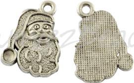 01333 Bedel kerstman hoofd Antiek zilver (Nikkel vrij) 19mmx13,5mmx3mm; gat 2mm