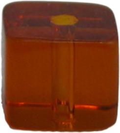 01365 Glaskraal vierkant Donker bruin 6mm 1 streng (±30cm)
