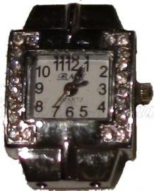00532 Horloge bling Metaalkleurig/Chrystal  1 stuks