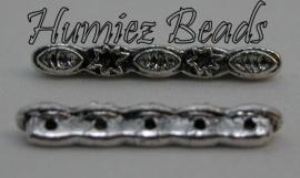 02819 Verdeler 5-gaats motiefje Antiek zilver 24mmx4mm 3 stuks