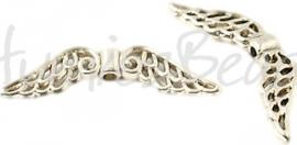 02578 Spacer vleugel Antiek zilver (Nikkelvrij) 32mmx6mm; gat 1,5mm 5 stuks