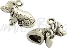 03508 Bedel 3d hond Antiek zilver (Nickel vrij) 13mmx10mmx7mm; gat 2mm
