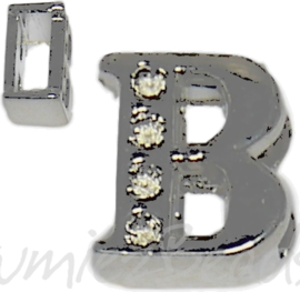 04237 Schuifkraal Letter B Metaalkleurig (Nikkelvrij) 9mmx8mm; gat 6,5mmx3,5mm 1 stuks
