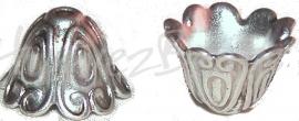 01179 Eindkap krul Antiek zilver (Nikkelvrij) 15mmx11mm 3 stuks