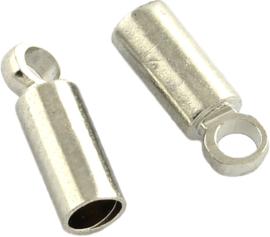 01972 Eindkap  Metaalkleurig 9mmx5mm; gat 4mm 5 stuks